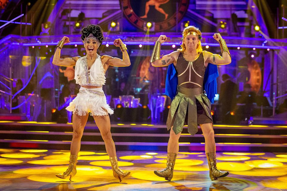 Jamie with his dance partner Karen in Strictly Come DancingPA