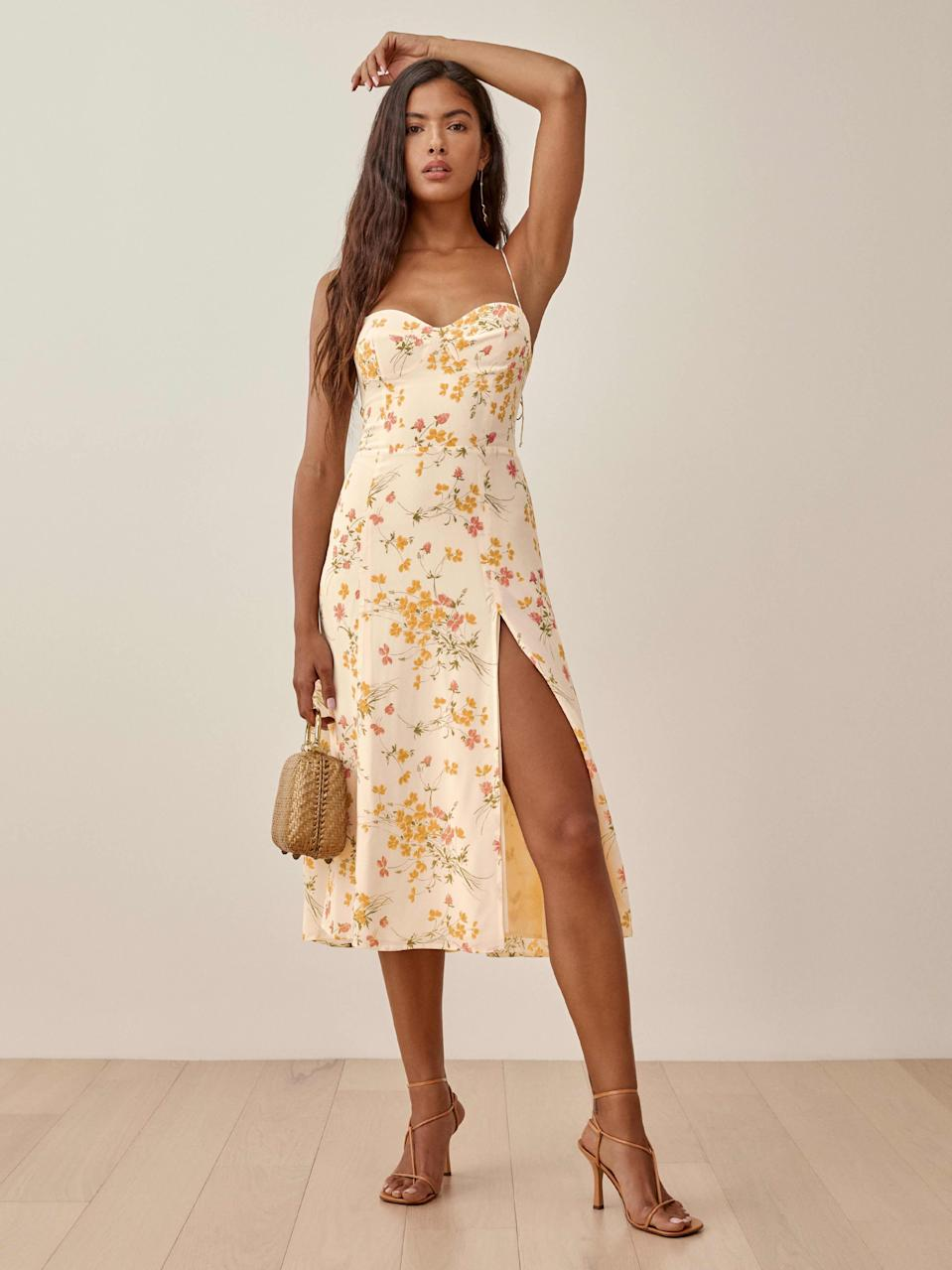 """The cost-per-wear value can't be beat, since you'll definitely find another occasion (or five) to wear this floral Reformation dress to. $218, Reformation. <a href=""""https://www.thereformation.com/products/juliette-dress"""" rel=""""nofollow noopener"""" target=""""_blank"""" data-ylk=""""slk:Get it now!"""" class=""""link rapid-noclick-resp"""">Get it now!</a>"""