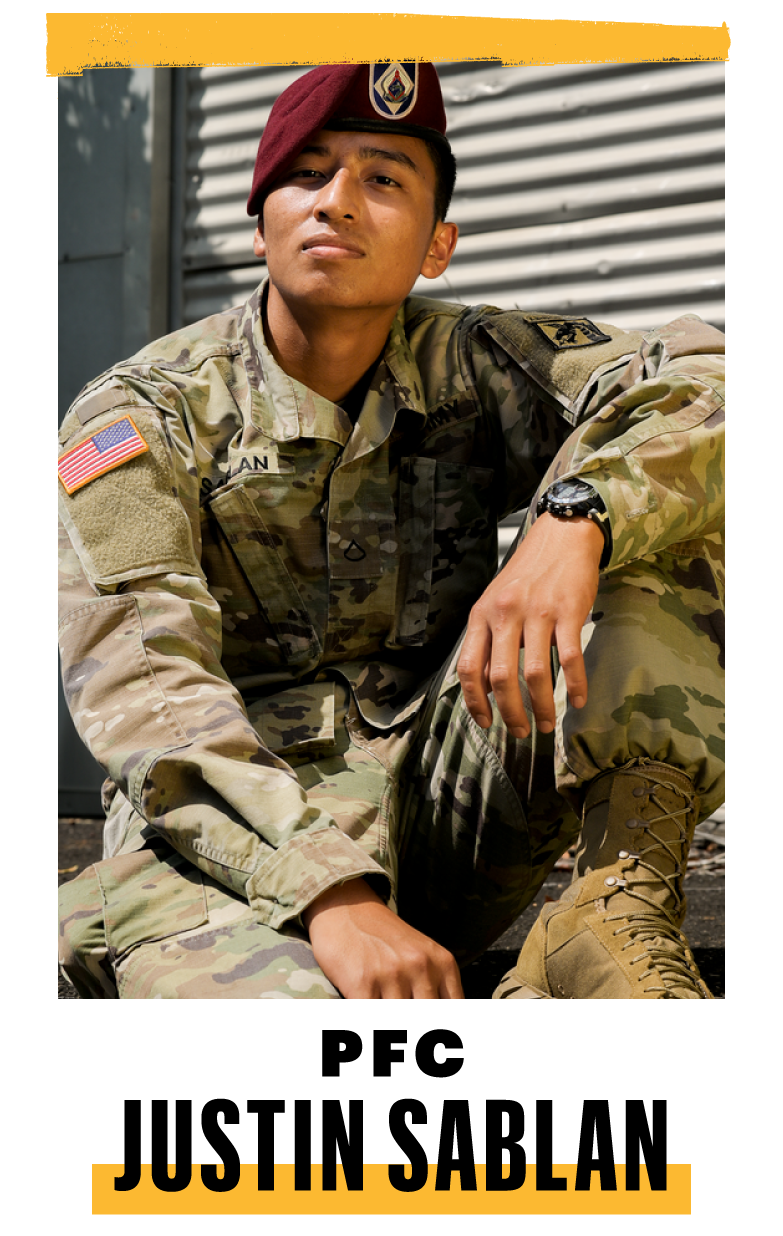 <p><strong>Hometown: </strong>Sinajana, Guam<br><strong>Position: </strong>Office clerk</p><p><strong>I'D SAY ABOUT </strong>30 percent of my high school class joined the military. It's common where I'm from in Guam. My whole family is military, too, mostly Air Force. At first, I thought of joining the reserves or National Guard, because I would've been stationed in Hawaii and close to home. But then I thought: <em>Why not go somewhere farther and meet more people from different backgrounds?</em></p><p>During basic, it was hard getting along with others. People tried to mess you over. And we all got punished for one person's mistake. But there are others from home here at Fort Bragg. We back each other up. I don't know whether or not I'll reenlist. My family owns a food mart, and I took a culinary class in school while in ROTC. That's what I want to do if I leave the Army.</p>