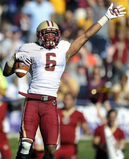 Boston College's C.J. Jones (6), celebrates after recovering a fumble by Northwestern quarterback Trevor Siemian during the second quarter of an NCAA college football game on Saturday, Sept. 15, 2012, in Evanston, Ill. (AP Photo/Paul Beaty)