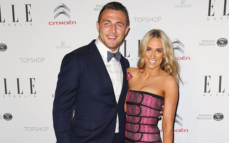 Sam Burgess with his now ex-wife, Phoebe - GETTY IMAGES