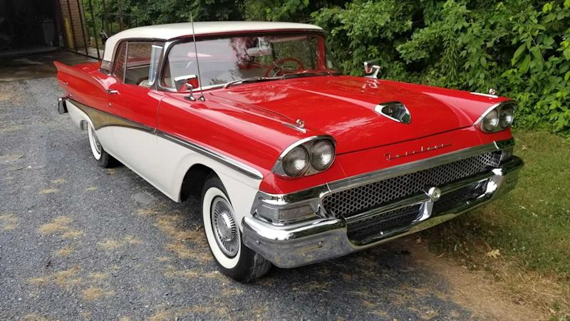 1958 Ford Fairlane Skyliner Is A Graceful Convertible Hardtop