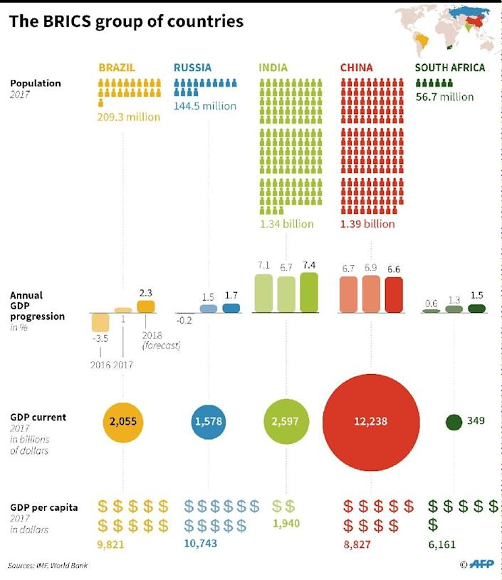 Key economic data on the BRICS group of countries: Brazil, Russia, India, China and South Africa. (AFP Photo/AFP )