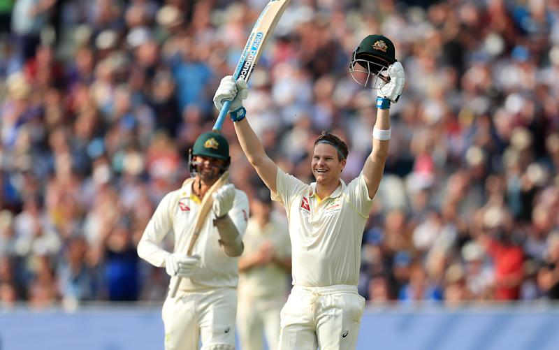 Australia's Steve Smith celebrates his century during day one of the Ashes Test match at Edgbaston, Birmingham. (Photo by Mike Egerton/PA Images via Getty Images)