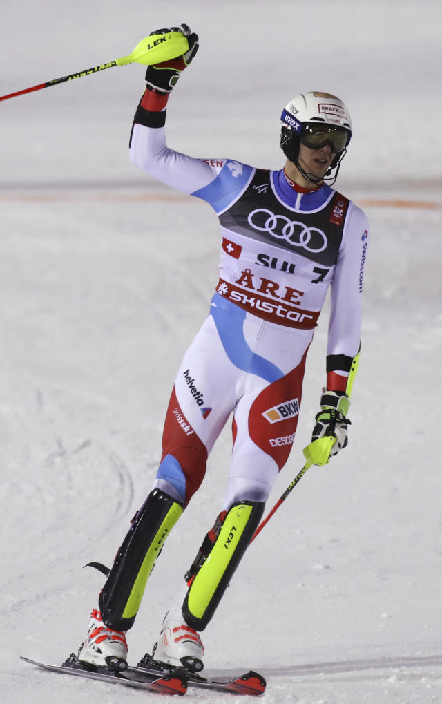 Switzerland's Ramon Zenhaeusern reacts in the finish area during the team event, at the alpine ski World Championships in Are, Sweden, Tuesday, Feb. 12, 2019. (AP Photo/Alessandro Trovati)