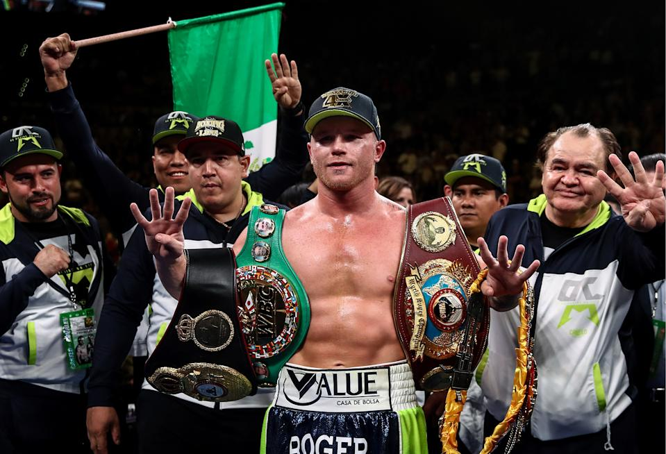 LAS VEGAS, NEVADA, UNITED STATES  NOVEMBER 2, 2019: Mexican boxer Saul «Canelo» Alvarez (C), WBA Super title holder, celebrates winning his WBO light heavyweight title bout against Russian rival Sergey Kovalev at MGM Grand Garden Arena in Las Vegas. Valery Sharifulin/TASS (Photo by Valery Sharifulin\TASS via Getty Images)