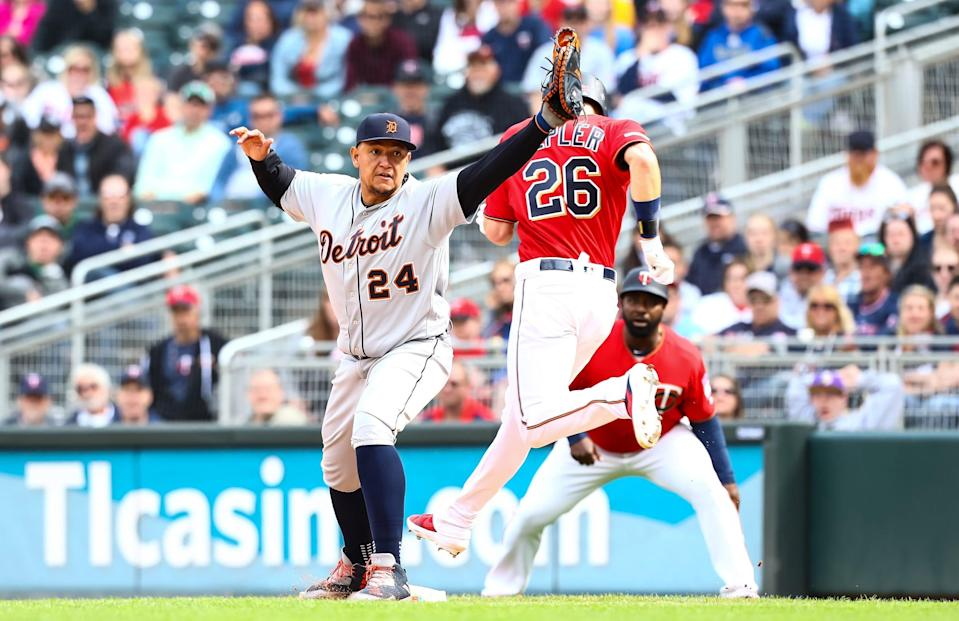 Detroit Tigers first baseman Miguel Cabrera makes a play at first base in the ninth inning against the Minnesota Twins at Target Field, May 11, 2019 in Minneapolis.