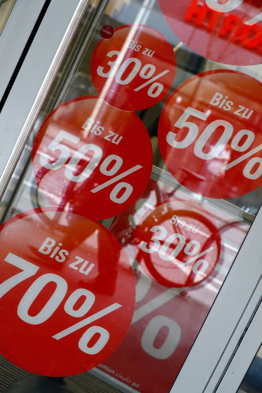 FILE PHOTO: On sale advertising is seen at a shop during the spread of the coronavirus disease (COVID-19) in Mainz