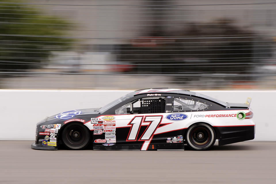 MADISON, IL - AUGUST 29: Taylor Gray (17) DGR-Corsley Ford Fusion speeds down he backstretch during the ARCA Menards Series Dutch Boy 150 on August 29, 2020, at World Wide Technology Raceway at Gateway in Madison, Illinois. (Photo by Michael Allio/Icon Sportswire via Getty Images)