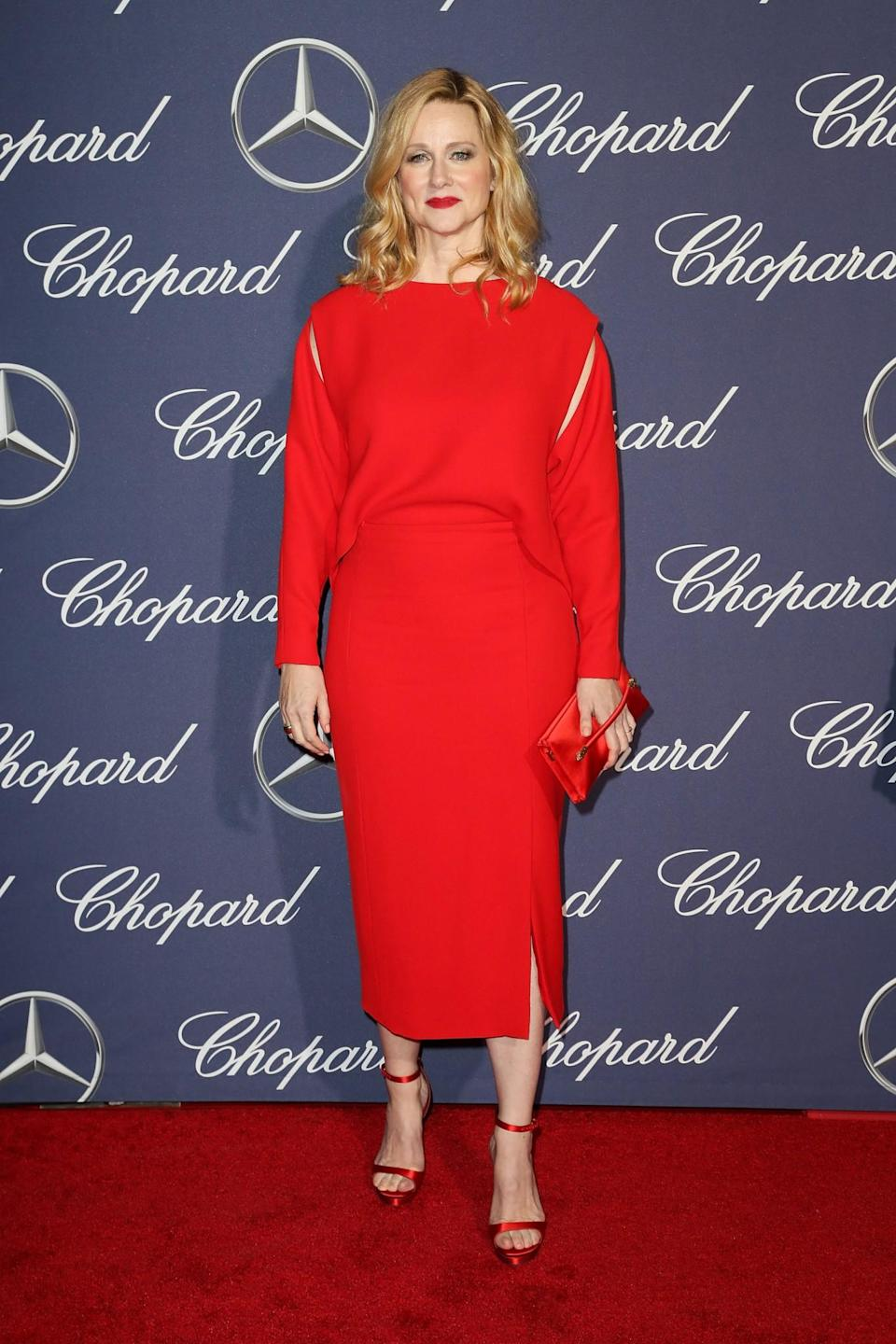 <p>Laura went for an all-red look. [Photo: Getty] </p>