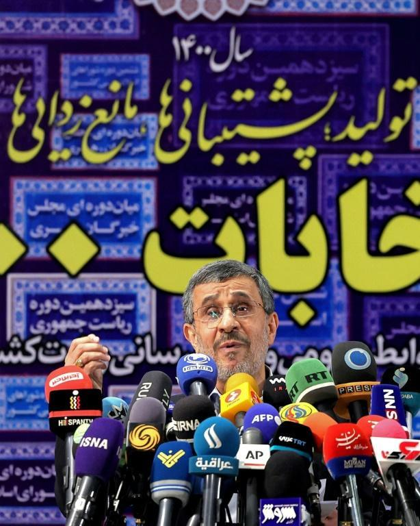 Iran's former president Mahmoud Ahmadinejad addresses the media on May 12, 2021 after registering his candidacy to run for office again