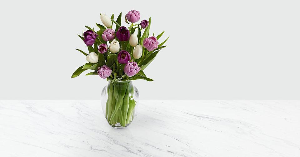 """<p>These tasteful <a href=""""https://www.popsugar.com/buy/Darling-Lavender-White-Tulips-569153?p_name=Darling%20Lavender%20and%20White%20Tulips&retailer=proflowers.com&pid=569153&price=50&evar1=casa%3Aus&evar9=46127505&evar98=https%3A%2F%2Fwww.popsugar.com%2Fhome%2Fphoto-gallery%2F46127505%2Fimage%2F46128452%2FDarling-Lavender-White-Tulips&list1=shopping%2Cgift%20guide%2Cflowers%2Chouse%20plants%2Cplants%2Cmothers%20day%2Cgifts%20for%20women&prop13=api&pdata=1"""" class=""""link rapid-noclick-resp"""" rel=""""nofollow noopener"""" target=""""_blank"""" data-ylk=""""slk:Darling Lavender and White Tulips"""">Darling Lavender and White Tulips</a> ($50) will have your mom swooning.</p>"""