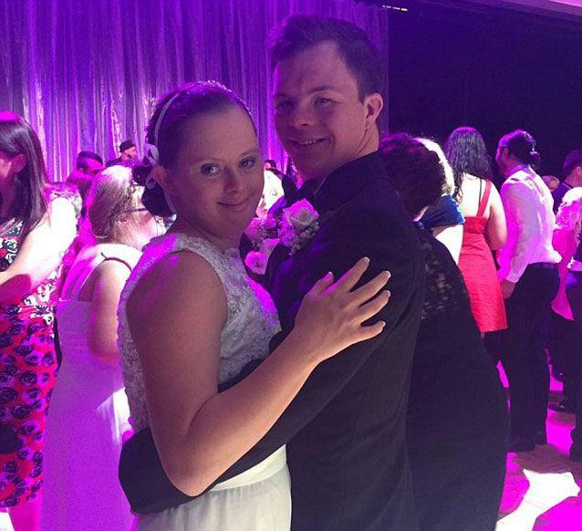 The sweethearts made headlines recently after attending a debutante ball for people with down syndrome on the Gold Coast. PIcture: Facebook