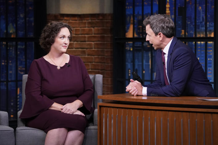 LATE NIGHT WITH SETH MEYERS -- Episode 893 -- Pictured: (l-r) Rep. Katie Porter during an interview with host Seth Meyers on October 2, 2019 -- (Photo by: Lloyd Bishop/NBCU Photo Bank/NBCUniversal via Getty Images via Getty Images)