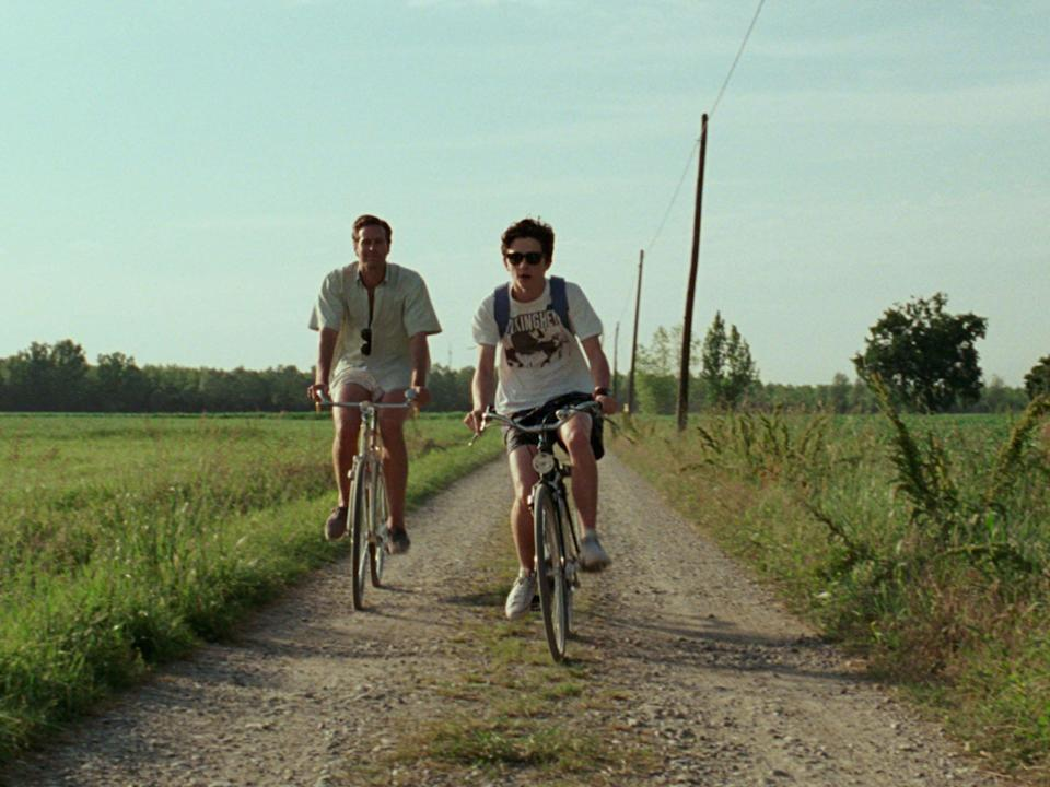 Oliver and Elio cycling in 'Call Me By Your Name': Rex Features