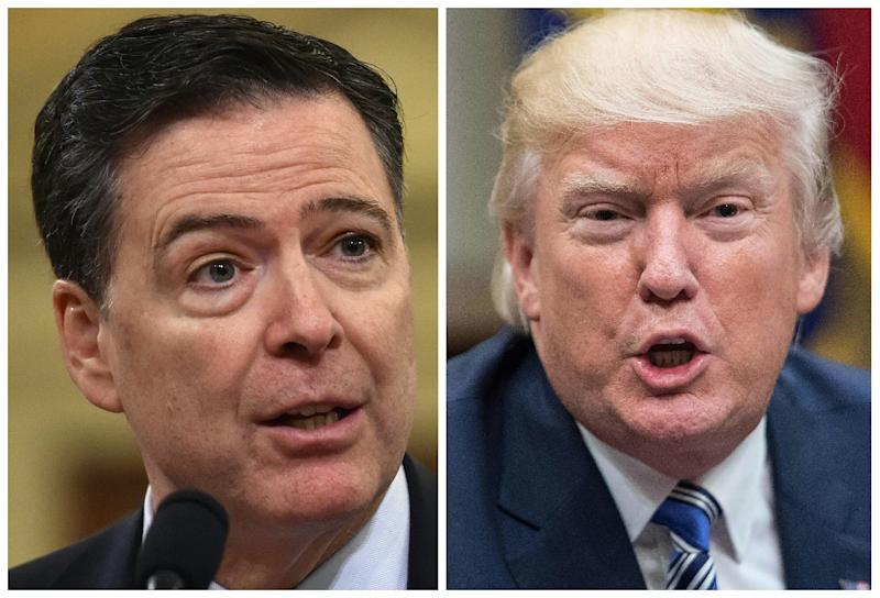 Former FBI director James Comey (L) wrote a series of memorandums after meetings with Donald Trump before the president fired him in 2017