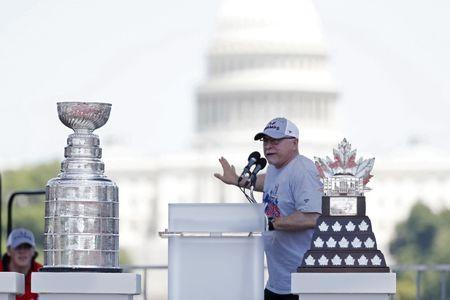 Jun 12, 2018; Washington, DC, USA; Washington Capitals head coach Barry Trotz speaks during the Stanley Cup championship parade and celebration on the National Mall. Mandatory Credit: Geoff Burke-USA TODAY Sports