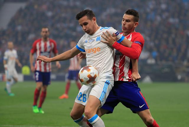Soccer Football - Europa League Final - Olympique de Marseille vs Atletico Madrid - Groupama Stadium, Lyon, France - May 16, 2018 Atletico Madrid's Lucas Hernandez in action with Marseille's Florian Thauvin REUTERS/Gonzalo Fuentes