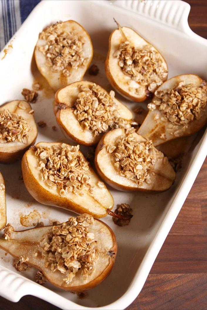"""<p>These healthy individual baked pears will satisfy all your sweet cravings.</p><p>Get the recipe from <a href=""""https://www.delish.com/cooking/recipe-ideas/recipes/a51029/cinnamon-baked-pears-recipe/"""" rel=""""nofollow noopener"""" target=""""_blank"""" data-ylk=""""slk:Delish"""" class=""""link rapid-noclick-resp"""">Delish</a>.</p>"""