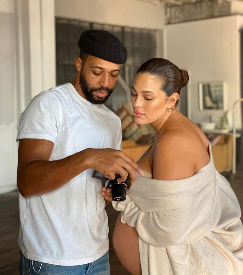 Ashley Graham poses with Justin Ervin
