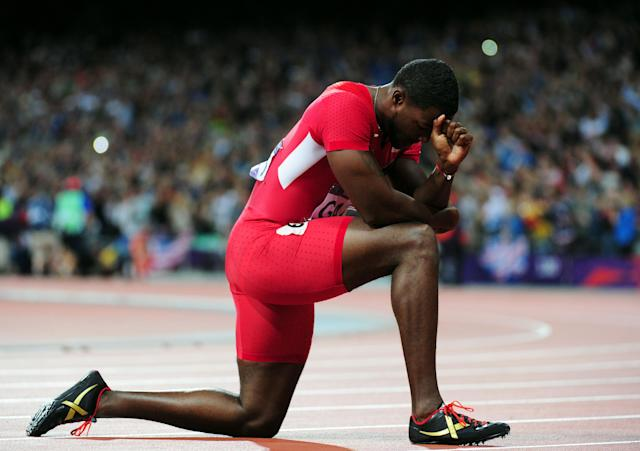 LONDON, ENGLAND - AUGUST 05: Justin Gatlin of the United States looks on after the Men's 100m Final on Day 9 of the London 2012 Olympic Games at the Olympic Stadium on August 5, 2012 in London, England. (Photo by Stu Forster/Getty Images)