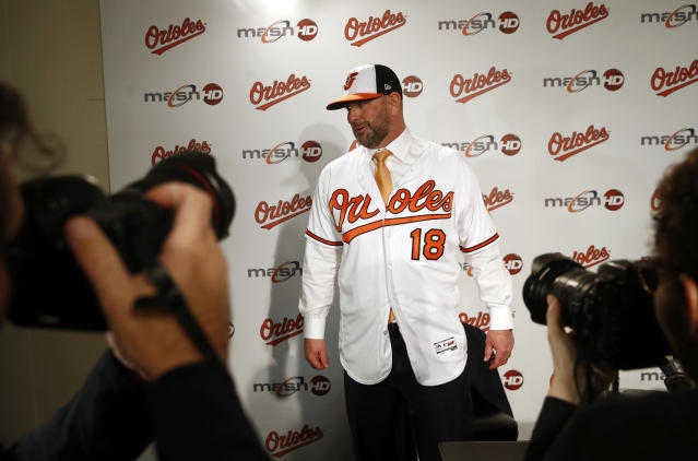 New Baltimore Orioles manager Brandon Hyde stands on a stage after an introductory news conference, Monday, Dec. 17, 2018, in Baltimore. Hyde is the 20th manager in the team's history. (AP Photo/Patrick Semansky)