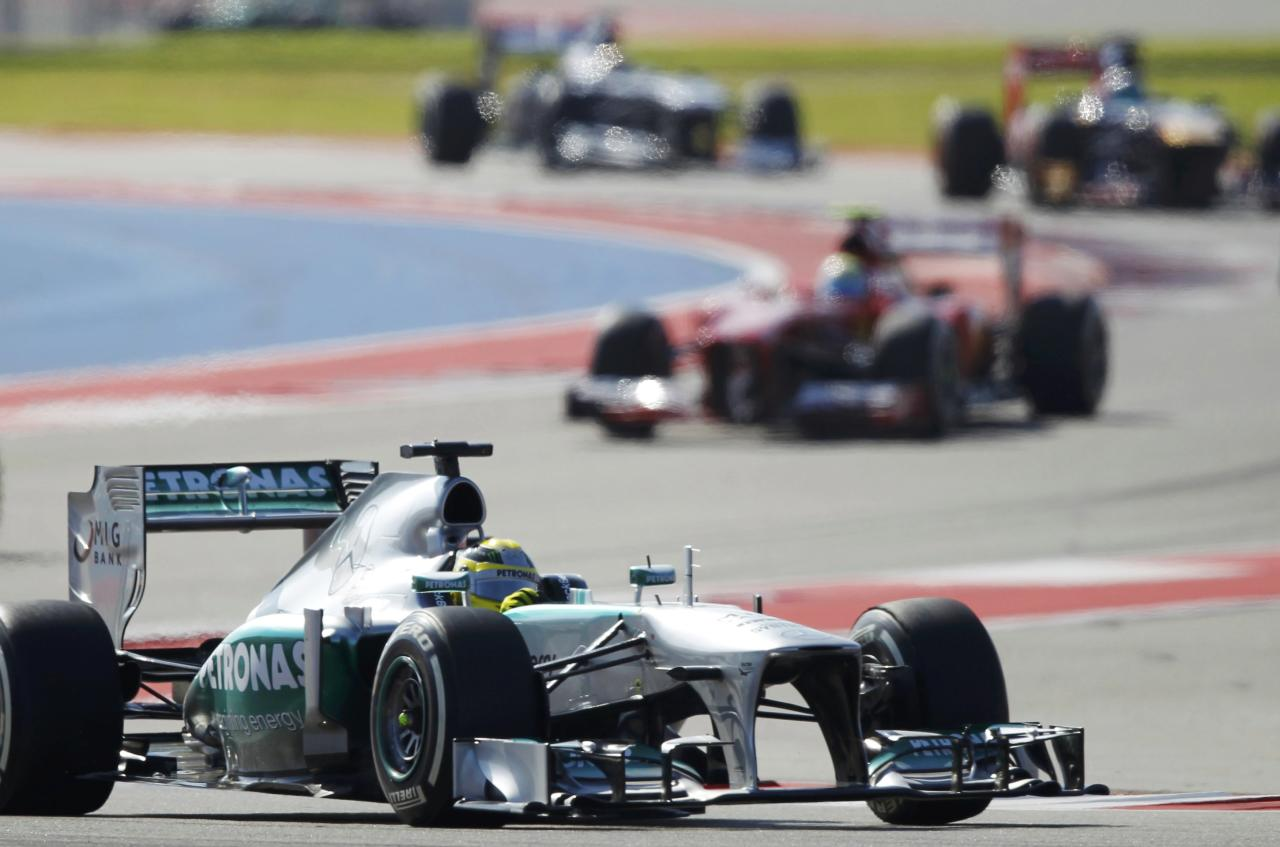 Mercedes Formula One driver Nico Rosberg of Germany drives during the Austin F1 Grand Prix at the Circuit of the Americas in Austin November 17, 2013. REUTERS/Mike Stone (UNITED STATES - Tags: SPORT MOTORSPORT F1)