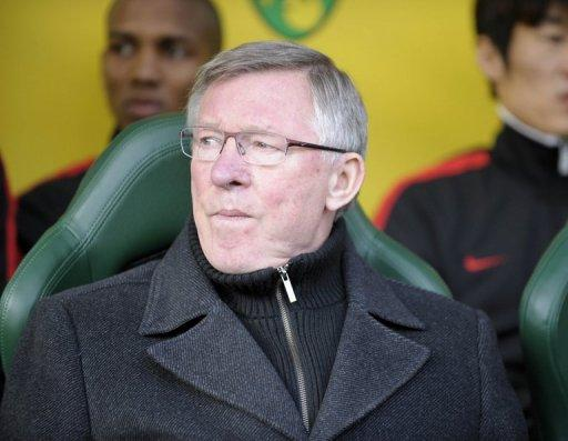 Manchester United manager Sir Alex Ferguson during his side's Premier League match against Norwich City on February 26. Ferguson hailed Ryan Giggs for the late winner that kept United within touching distance of leaders Man City in the race for the Premier League title