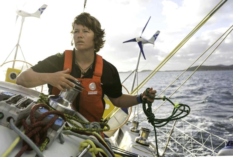 "Australian sailor Lisa Blair on her yacht ""Climate Action Now"" is attempting to become the first woman to circumnavigate Antarctica solo"