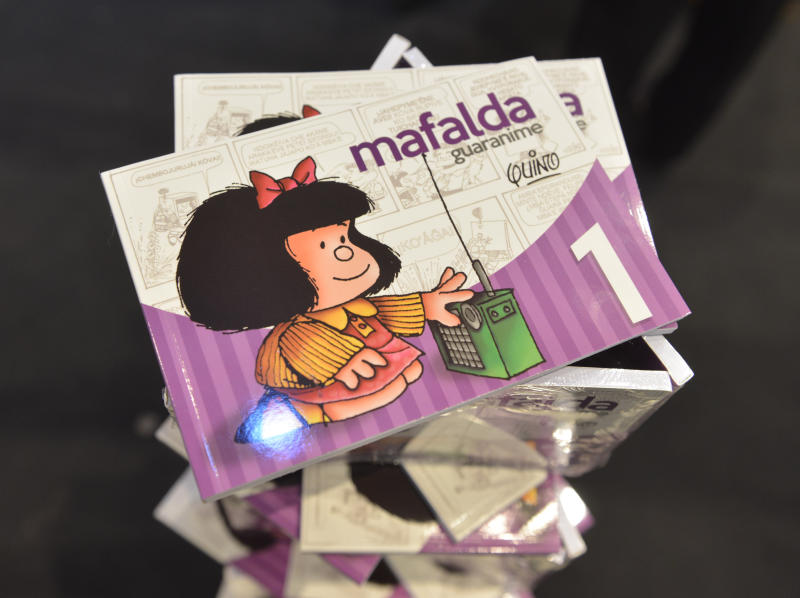 A copy of the book Mafalda by the Argentine author Quino is exhibited at the International Book Fair, FIL.at the FIL (Feria Internacional del Libro) in Asuncion, Paraguay, Friday, June 9, 2017. The first volume of Mafalda in Guaraní language, paraguayan official indigenous language, went on sale this Friday at FIL. (AP Photo/Marta Escurra)