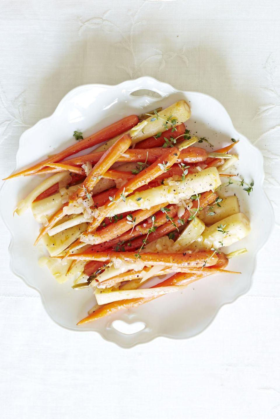 """<p>These OJ-braised veggies get a little flavor kick from crushed red pepper flakes — double the amount for even more oomph. No shallots? Half a small onion also works.</p><p><a href=""""https://www.goodhousekeeping.com/food-recipes/a14496/orange-braised-carrots-parsnips-recipe-ghk1113/"""" rel=""""nofollow noopener"""" target=""""_blank"""" data-ylk=""""slk:Get the recipe for Orange-Braised Carrots and Parsnips »"""" class=""""link rapid-noclick-resp""""><em>Get the recipe for Orange-Braised Carrots and Parsnips »</em></a></p>"""
