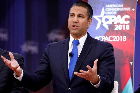 FILE PHOTO: Chairman of the Federal Communications Commission Ajit Pai speaks at the Conservative Political Action Conference (CPAC) at National Harbor, Maryland