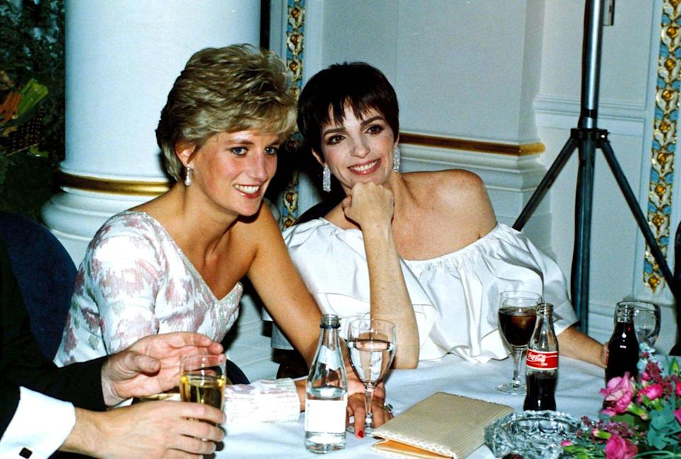 <p>Liza Minnelli opted for an off-the-shoulder white ruffled gown for the <em>Stepping Out </em>premiere in London, while the Princess wore a formfitting pink and white one sleeve evening gown by Catherine Walker. <br></p>