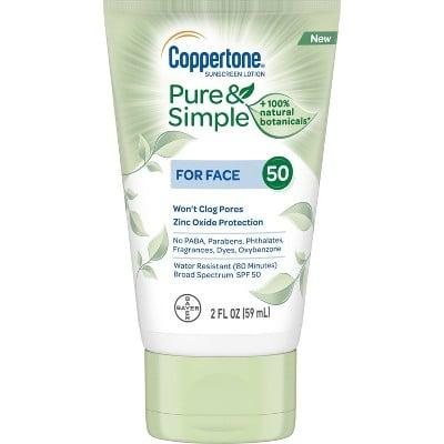 """<p>The paraben- and phthalate-free <a href=""""https://www.popsugar.com/buy/Coppertone-Pure-Simple-Botanicals-Faces-Sunscreen-Lotion-SPF-50-423289?p_name=Coppertone%20Pure%20and%20Simple%20Botanicals%20Faces%20Sunscreen%20Lotion%20SPF%2050&retailer=target.com&pid=423289&price=5&evar1=bella%3Aus&evar9=46747784&evar98=https%3A%2F%2Fwww.popsugar.com%2Fbeauty%2Fphoto-gallery%2F46747784%2Fimage%2F46770032%2FCoppertone-Pure-Simple-Botanicals-Faces-Sunscreen-Lotion-SPF-50&list1=beauty%20interview%2Cskin%20care&prop13=mobile&pdata=1"""" rel=""""nofollow"""" data-shoppable-link=""""1"""" target=""""_blank"""" class=""""ga-track"""" data-ga-category=""""Related"""" data-ga-label=""""https://www.target.com/p/coppertone-pure-and-simple-botanicals-faces-sunscreen-lotion-spf-50-2oz/-/A-75563545?ref=tgt_adv_XS000000&amp;AFID=google_pla_df&amp;fndsrc=tgtao&amp;CPNG=PLA_Health%2BBeauty%2BShopping_Local&amp;adgroup=SC_Health%2BBeauty&amp;LID=700000001170770pgs&amp;network=g&amp;device=c&amp;location=9060351&amp;ds_rl=1246978&amp;ds_rl=1247077&amp;ds_rl=1246978&amp;gclid=EAIaIQobChMIw928kaWM4QIVzsDICh0n6g_EEAYYASABEgKwb_D_BwE&amp;gclsrc=aw.ds"""" data-ga-action=""""In-Line Links"""">Coppertone Pure and Simple Botanicals Faces Sunscreen Lotion SPF 50</a> ($5) contains zinc and delivers broad-spectrum protection, and has botanicals like tea extract to soothe the skin.</p>"""