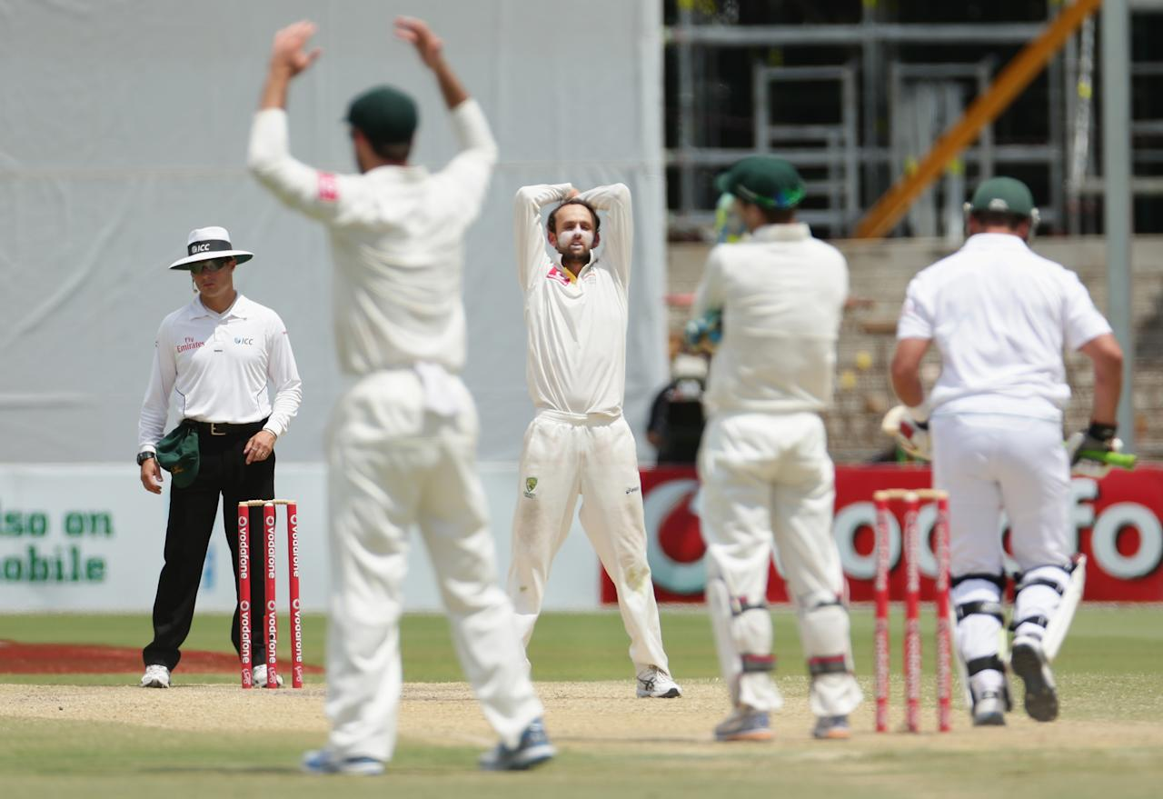 ADELAIDE, AUSTRALIA - NOVEMBER 26:  Nathan Lyon of Australia looks on after bowling a delivery during day five of the Second Test Match between Australia and South Africa at Adelaide Oval on November 26, 2012 in Adelaide, Australia.  (Photo by Scott Barbour/Getty Images)
