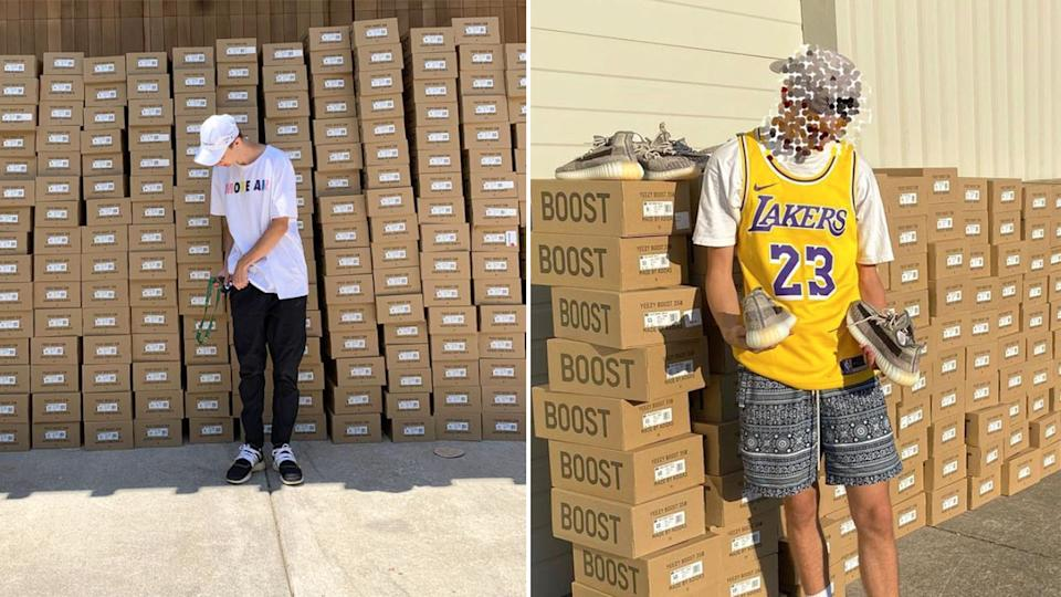 Pictured here, boxes of shoes from Joe Hebert's West Coast Streetwear business.