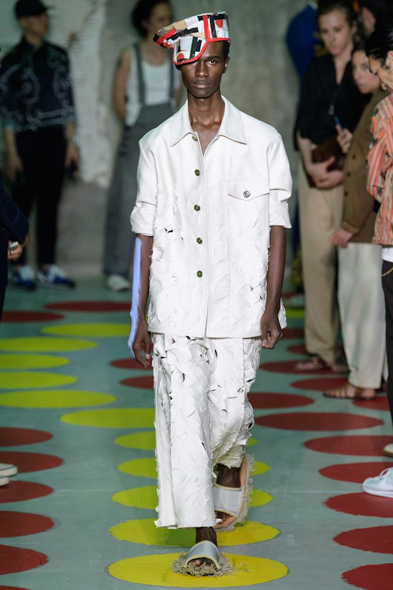 "Marni's Francesco Risso strung a fishing net from the ceiling of his Spring 2020 Menswear venue, then filled with plastic and trash collected from the ocean. It was a prescient reminder of fashion's role in the problem before the show even began (where models wore hats and brooches made out of similar debris). ""We are here today to confirm our position in the world and to move towards action,"" he said. ""Let's be vocal about our beliefs."""