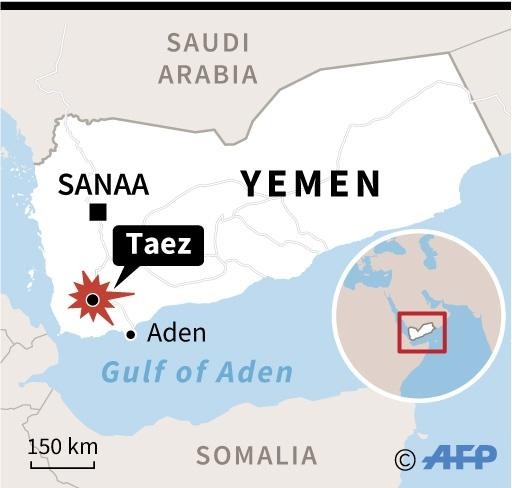 Map of Yemen locating Taez. More than 20 people have been killed in fighting between rebels and loyalists on the city's outskirts. (AFP Photo/Jonathan JACOBSEN)