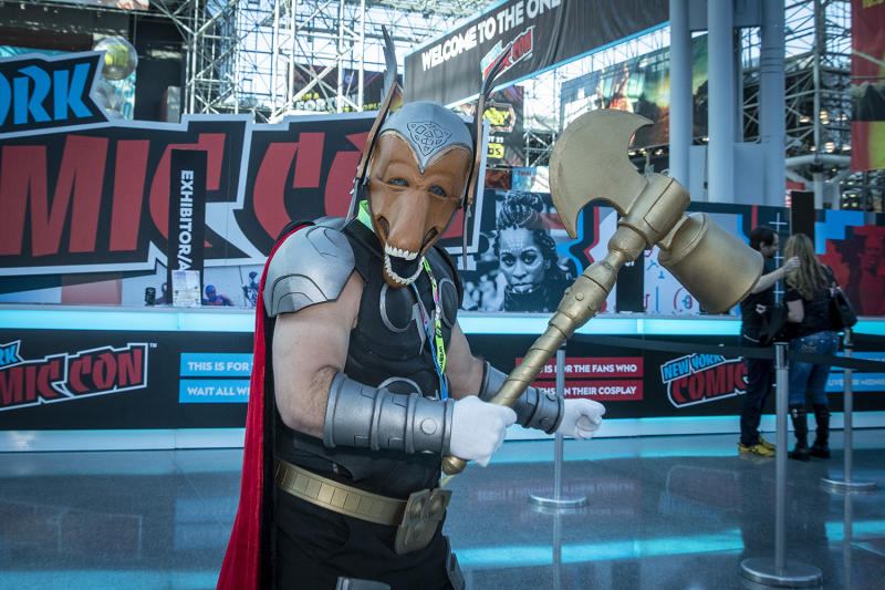 A cosplayer poses for a photo for the third day of the 2019 New York Comic Con at the Jacob Javits Center on Oct. 5, 2019. (Photo: Gordon Donovan/Yahoo News)