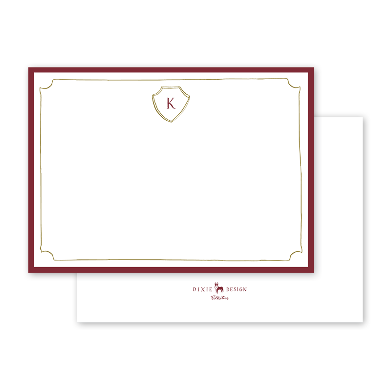 """<p><strong>Laura McCarty</strong></p><p>dogwood-hill.com</p><p><a href=""""https://www.dogwood-hill.com/products/laurel-leaf-crest-border-notecard"""" rel=""""nofollow noopener"""" target=""""_blank"""" data-ylk=""""slk:Discover"""" class=""""link rapid-noclick-resp"""">Discover</a></p><p>A burgundy border and simple laurel leaf crest make this set a memorable way to keep in touch with an acquaintance or dear friend. </p>"""