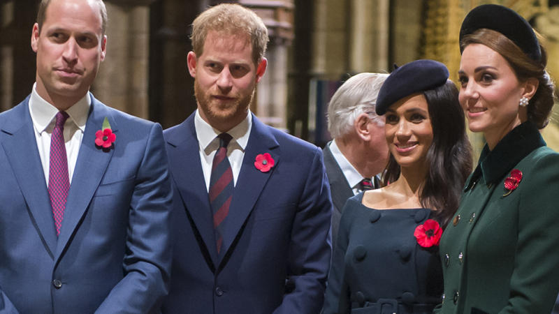 Prince William, Duke of Cambridge and Catherine, Duchess of Cambridge, Prince Harry, Duke of Sussex and Meghan, Duchess of Sussex attend a service marking the centenary of WW1 armistice at Westminster Abbey on November 11, 2018 in London, England. The armistice ending the First World War between the Allies and Germany was signed at Compiègne, France on eleventh hour of the eleventh day of the eleventh month - 11am on the 11th November 1918. This day is commemorated as Remembrance Day with special attention being paid for this year's centenary. (Photo by Paul Grover- WPA Pool/Getty Images)
