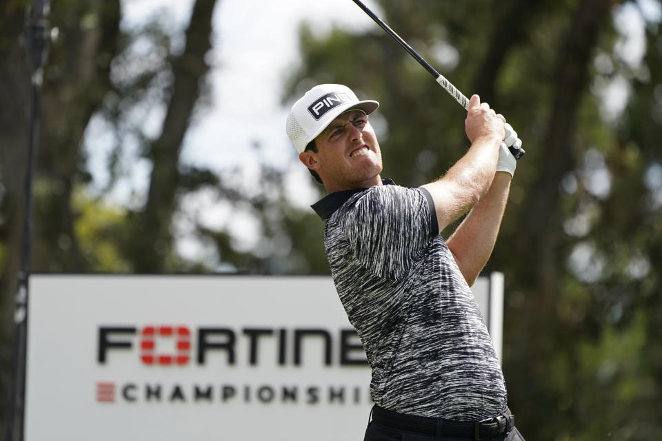 Mito Pereira, of Chile, follows his shot from the second tee of the Silverado Resort North Course during the final round of the Fortinet Championship PGA golf tournament Sunday, Sept. 19, 2021, in Napa, Calif. (AP Photo/Eric Risberg)