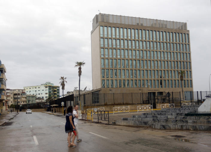 General view of the U.S. Embassy in Havana after the U.S. government pulled more than half of its diplomatic personnel out of Cuba in September 2017. (Photo: Ernesto Mastrascusa/Getty Images)
