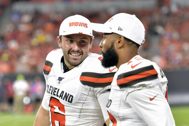 Baker Mayfield and Odell Beckham Jr. have some work to do together this offseason. (AP Photo/David Richard, File)