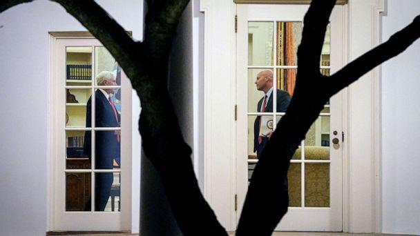 PHOTO: Vice President Mike Pence and his Chief of Staff Marc Short stand in the Oval Office before President Donald Trump departs the White House on Jan. 4, 2020 in Washington, D.C. (Drew Angerer/Getty Images)