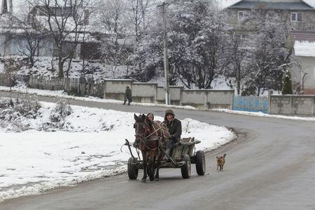 A horse-drawn carriage is pictured on a street in Dragomiresti, Dambovita county, Romania, January 23, 2018. Picture taken January 23, 2018. Inquam Photos/Octav Ganea via REUTERS