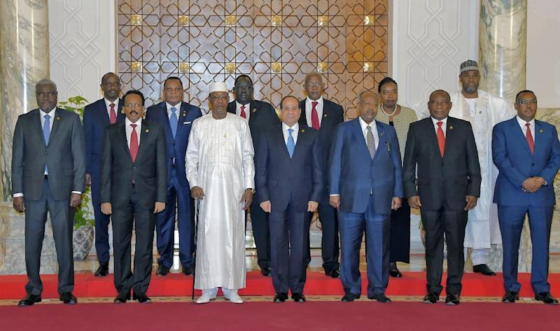 Egyptian President Abdel Fattah al-Sisi (C) hosts African leaders for summit talks on the upheavals in Sudan and Libya (AFP Photo/Handout)