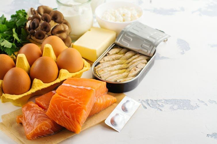 """<span class=""""caption"""">These foods are high in vitamin D but much of them aren't vegan.</span> <span class=""""attribution""""><a class=""""link rapid-noclick-resp"""" href=""""https://www.shutterstock.com/image-photo/natural-sources-vitamin-d-healthy-food-520086745?src=3puRuKPij0oGoCuWjaAd9g-1-7"""" rel=""""nofollow noopener"""" target=""""_blank"""" data-ylk=""""slk:Shutterstock"""">Shutterstock</a></span>"""