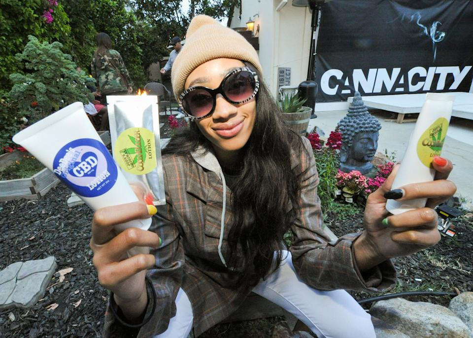 LOS ANGELES, CALIFORNIA - APRIL 20: Zahrriya Smith with CBD Lotion at Welcome to Cannacity - 'She's Smokin' Event on April 20, 2019 in Los Angeles, California. (Photo by Michael Bezjian/Getty Images for The Artists Project)