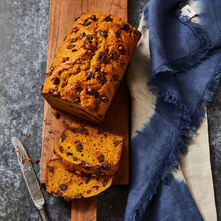 """<p>Halloween treating should start first thing in the a.m., with a tasty slice of chocolately pumpkin bread.</p><p><em><a href=""""https://www.goodhousekeeping.com/food-recipes/easy/a33406715/pumpkin-chocolate-chip-bread-recipe/"""" rel=""""nofollow noopener"""" target=""""_blank"""" data-ylk=""""slk:Get the recipe for Pumpkin Chocolate Chip Bread »"""" class=""""link rapid-noclick-resp"""">Get the recipe for Pumpkin Chocolate Chip Bread »</a></em></p><p><strong>RELATED: </strong><a href=""""https://www.goodhousekeeping.com/food-recipes/g4201/best-brunch-recipes/"""" rel=""""nofollow noopener"""" target=""""_blank"""" data-ylk=""""slk:60 Best Brunch Ideas to Try This Weekend"""" class=""""link rapid-noclick-resp"""">60 Best Brunch Ideas to Try This Weekend</a><br></p>"""